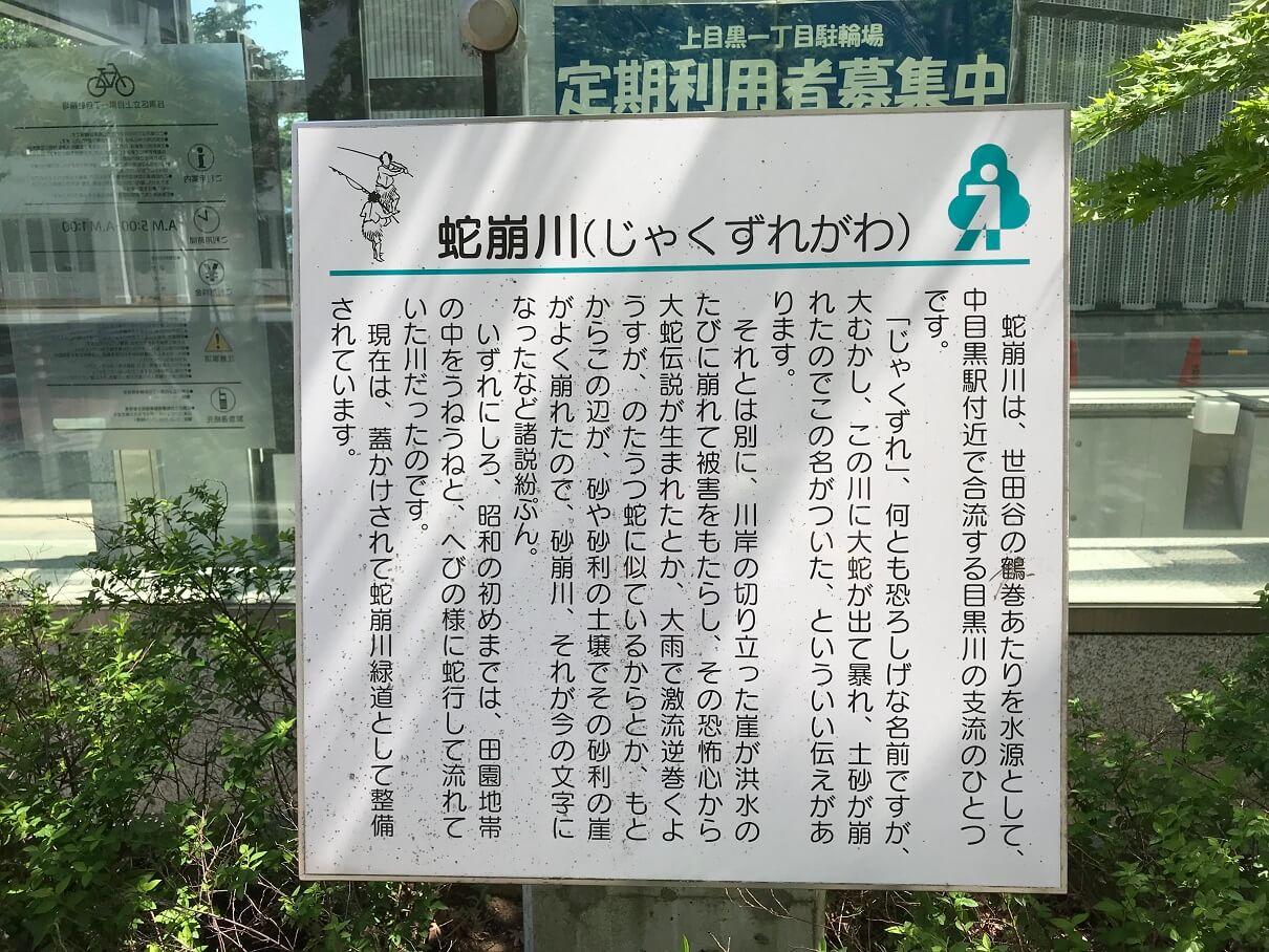 蛇崩川に関する情報が親切にも表示されています